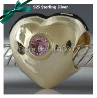 Free Shipping 925 Sterling Silver 18k Gold Heart With Cyrstal Stone Charms Fits for European Pandora Bracelet Necklace VK0561