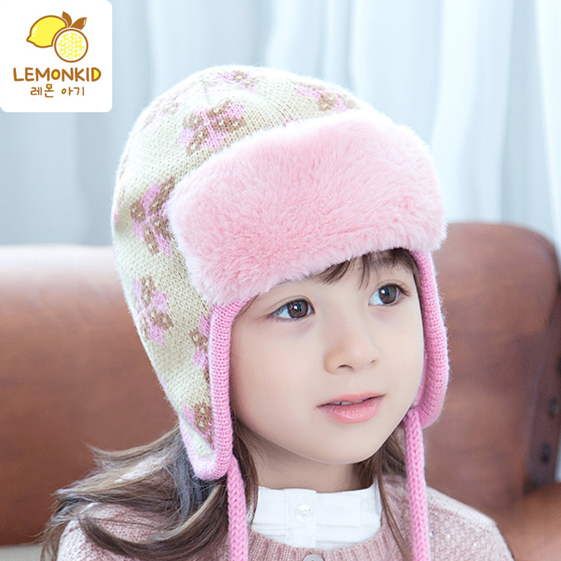 baby girl winter hat kids winter beanie hats brushed double layer warm  cutton caps earflaps jacquard weave hat-in Hats   Caps from Mother   Kids  on ... 532a696645f