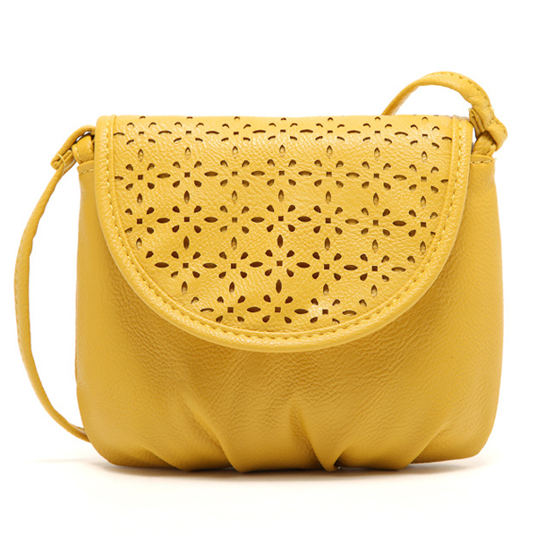 Korean Style Women Handbag Fashion Hollow Out Solid Lady Mini Cute Shoulder Bags Yellow Girl Love Phone Messenger Bag Cover Bags cute love heart hollow out bracelet watch for women