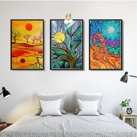 Abstract Sun 3 Pieces Canvas Painting Modular Pictures Wall Art Canvas For Living Room Decoration