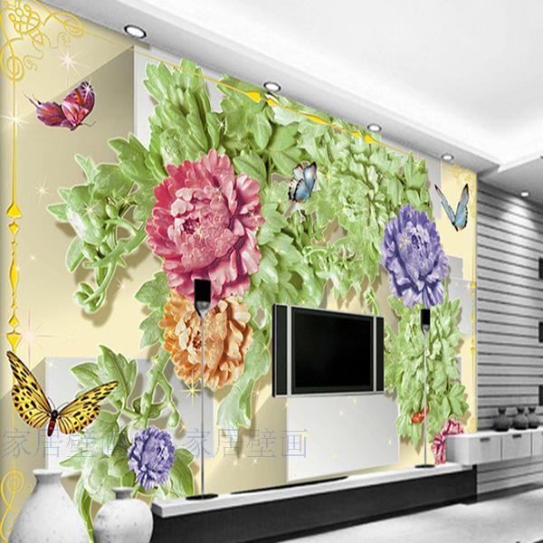 Large custom 3D wallpaper murals 3d jade flowers Peony Butterflies living room sofa TV background 3D wallpaper blue earth cosmic sky zenith living room ceiling murals 3d wallpaper the living room bedroom study paper 3d wallpaper