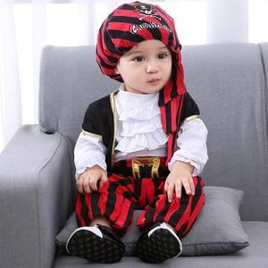 Image 4 - Infant Clothing Baby Outfit Lodumani Captain Pirate Style Long Sleeve Bodysuit&hat&belt&vest Newborn Toddler Boy Clothes Costume