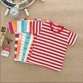 Crianças bonitos do bebê crianças roupas da moda t-camisa de algodão da listra 2-6 anos de idade meninos meninas de manga Curta t-shirt