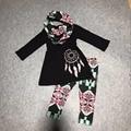 ОСЕНЬ/Зима шарф ацтеков дети костюм девочки черно-белой печати мечта поймать 100% хлопок 3 штук с длинными рукавами брюки бутик одежды