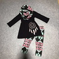 FALL/Winter scarf aztec children suit baby girls black print dream catch 100% cotton 3pieces long sleeves pants boutique clothes
