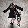 OTOÑO/Invierno bufanda azteca niños traje de los bebés de impresión negro captura sueño 100% algodón 3 piezas manga larga pantalones boutique de ropa