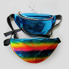 Punk Funny pack men women money belt Unisex Laser purse rainbow reflective chest waist bag women belt bag waist fanny pack