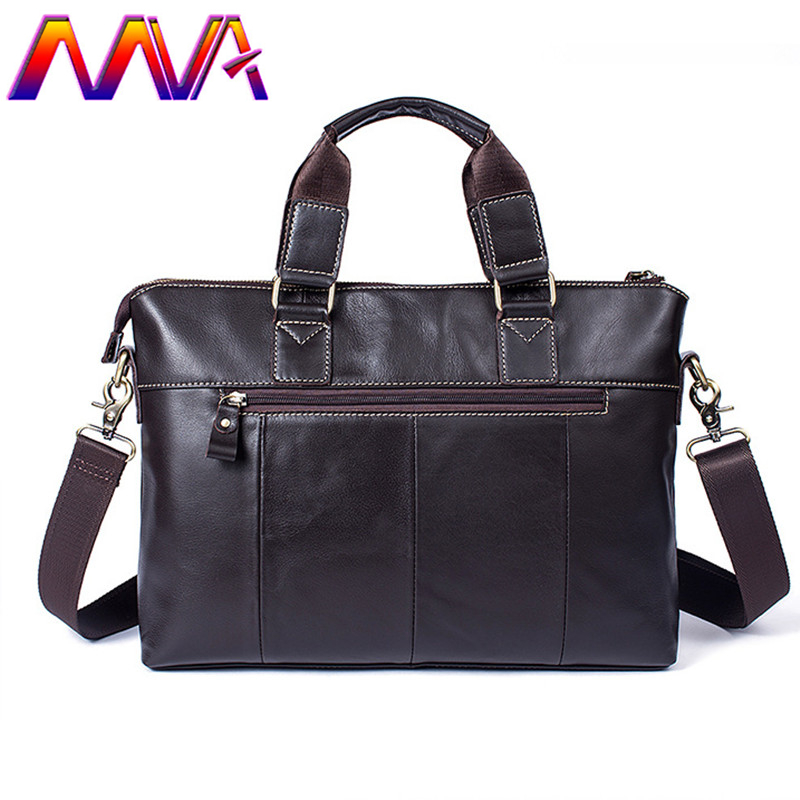 MVA Promotion coffee men leather briefcase with 100% genuine leather men shoulder bag for fashion women laptop crossbody bag