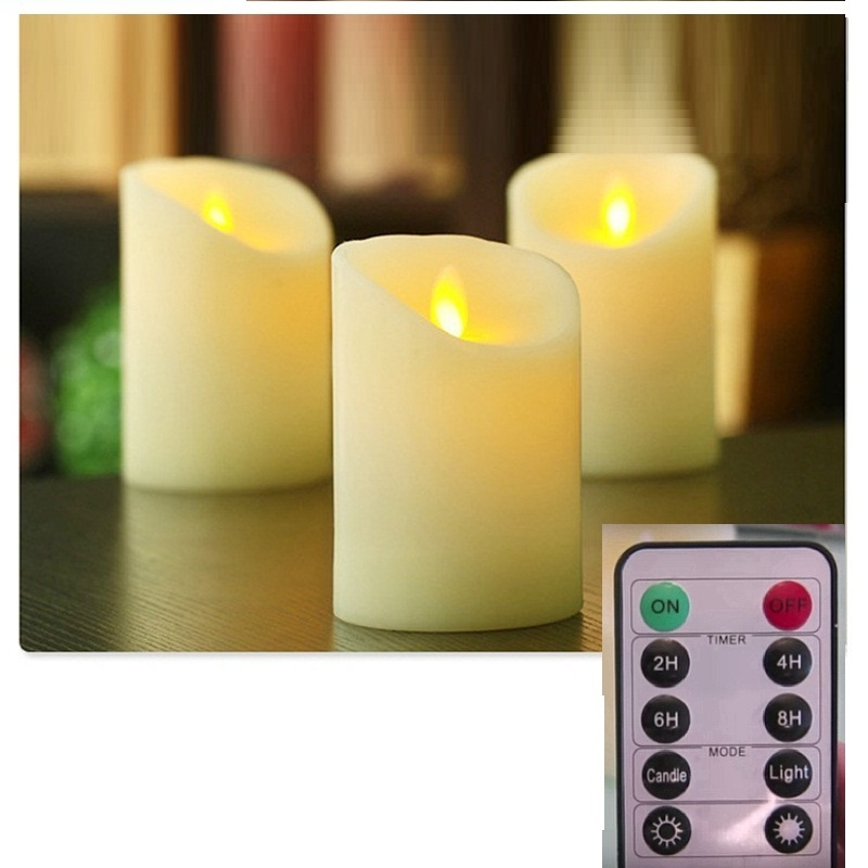 8cm Moving Wick Flame LED Candle, Larger Paraffin Wax Battery Powered LED Pillar Candle, Ivory, with Remote Control luminaire dfl 3x6 inch flameless real wax pillar electronic led candle with timer with embossed gold pearl