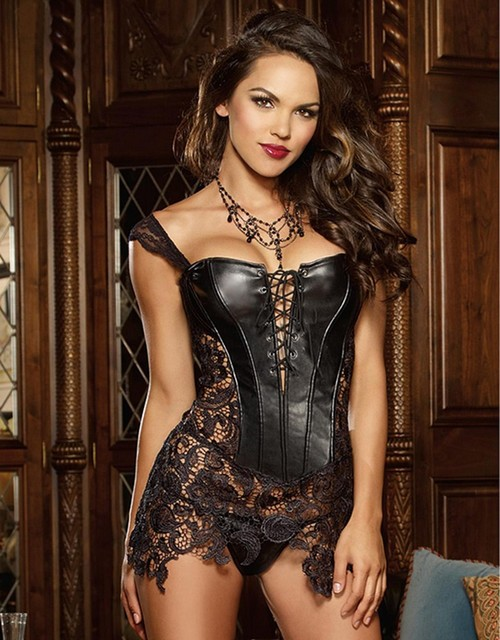 Fashion Sexy Women Corset With Thong 2016 Faux Leather Black Lace Shaper Bustier Plus Size S-6XL New