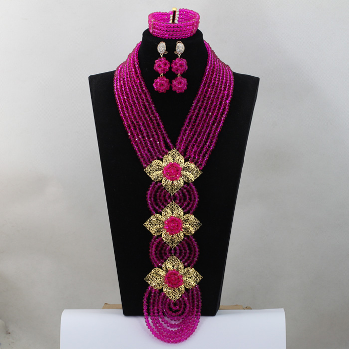 Latest Fuchsia Pink African Wedding Accessories Bride Jewelry Set Nigerian Costume Necklace Set Jewelry QW322Latest Fuchsia Pink African Wedding Accessories Bride Jewelry Set Nigerian Costume Necklace Set Jewelry QW322