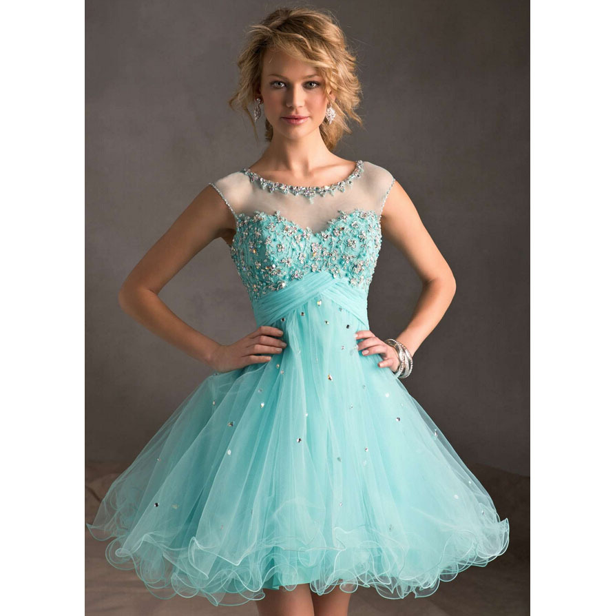 Popular Short Prom Dress with Cap Sleeves Green-Buy Cheap Short ...