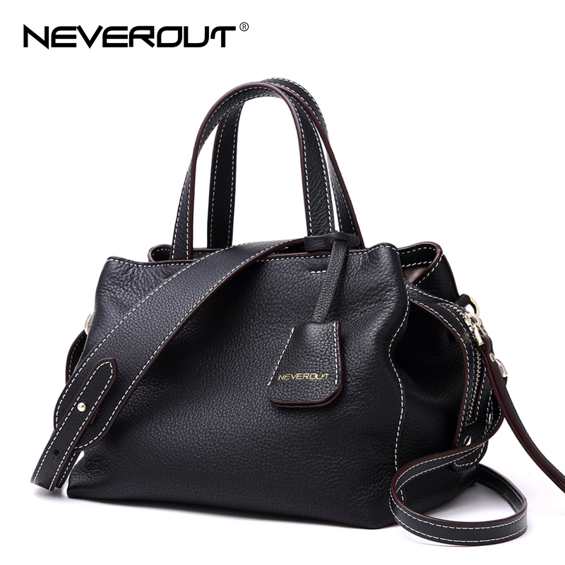 NeverOut Brand Name Women Bag Soft Genuine/Real Leather Handbags Solid Fashion Shoulder Sac Ladies Crossbody Bags Casual Handbag dikizfly soft genuine leather women handbags casual totes bag real leather brand work handbag purse elegant messenger bags bolsa