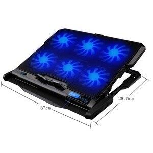 Image 3 - Podkładka chłodząca do laptopa chłodzenie laptopa sześć wentylatorów i 2 porty Usb podkładka chłodząca do laptopa stojak na notebooka do 13 16 Cal do laptopa