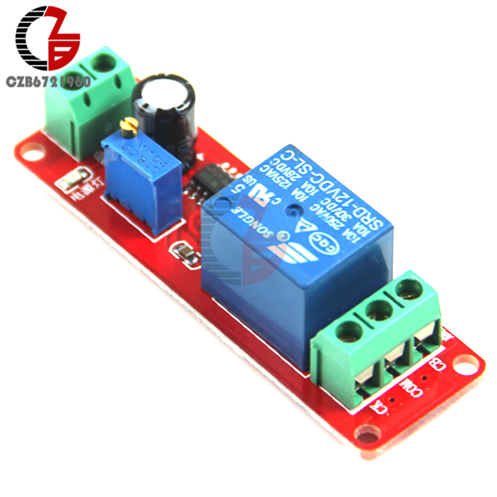 DC 12V Timer Delay Relay Shield Module NE555 Timer Switch Adjustable Controller Module 0 to 10 Second 0~10S Car Oscillator 1pc red dc12v pull delay timer switch adjustable relay module 0 to10 second t1098 p