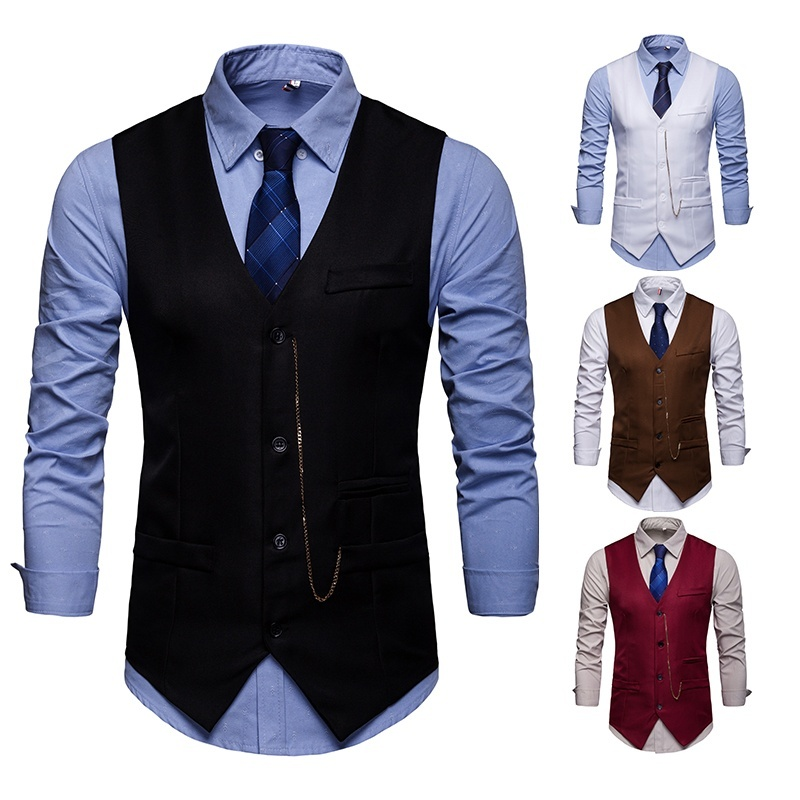 ZOGAA Business Vest Waistcoat Men Leisure 4 Colors Formal Vest For Men 2019 New Waistcoat Men Plus Size S-2XL Cotton Mens Vest