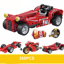 Technic Series F1 Racing Car Motorcycle 2 In 1 Changed Creative Building Block Set Bricks Kits Sermoido Toys For Children bela 8031 military thunder air force chinook creative technic building block set bricks kits toys children gifts