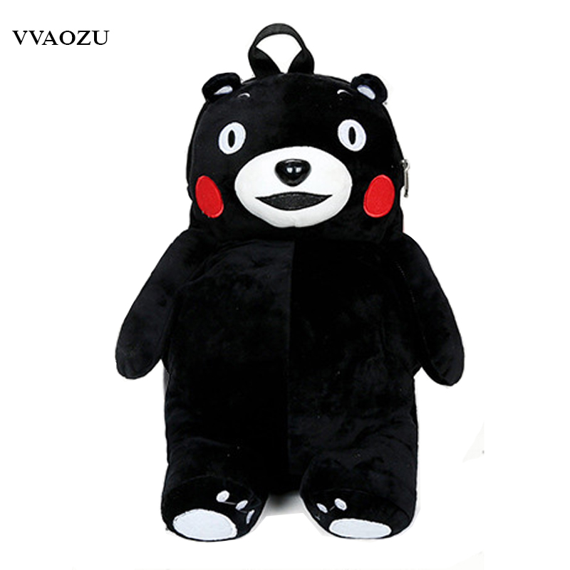 Fashion 50cm Plush Toy Mascot Kumamon Backpack Stuffed Toy Kumamoto Soft 3d Bear Design Shoulder Bag For Girls Cartoon Bags