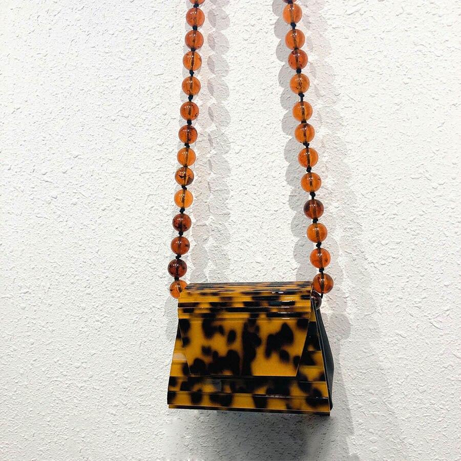 Perles chaînes acrylique ambre Messenger sacs femmes Sac Designer perles épaule Sac à bandoulière dames petit acrylique rabat sacs à main Sac
