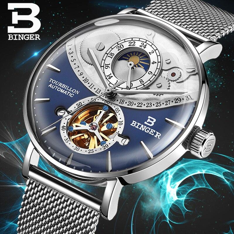 스위스 자동 시계 남자 binger 해골 기계식 남자 시계 전체 철강 사파이어 relogio masculino 방수 블루-에서기계식 시계부터 시계 의  그룹 1