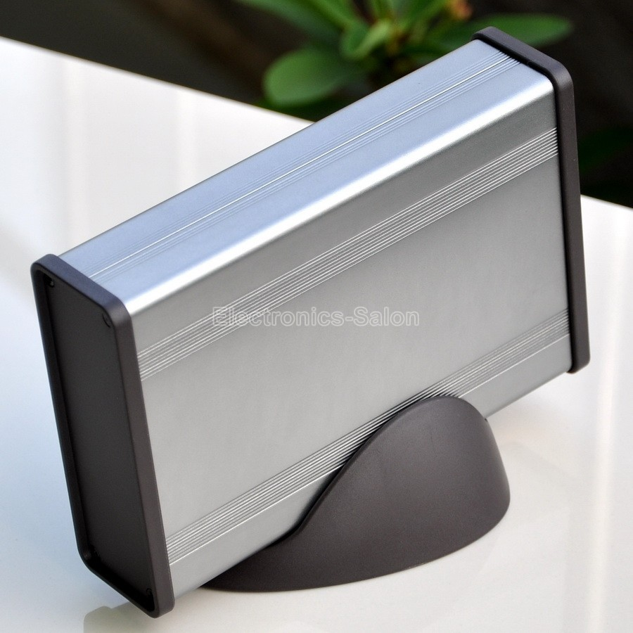 Aluminum Project Box Enclousure Case With Base,Silver-Gray 3.78