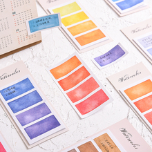 6 pcs Watercolor memo pad set Mini index sticky note Color tag label planner stickers Book marker Stationery Office School F633