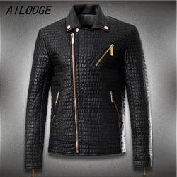 Men crocodile style leather brand motorcycle jacket men fashion slim fit jacket men coats men high.jpg 250x250