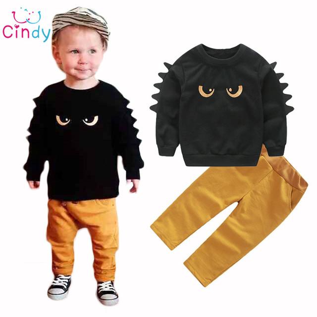 Otoño Invierno Ropa de Bebé Lindo 2017 2 unid Sudadera Pullover Top + Pant Ropa de Bebé Niño Niño Outfit traje