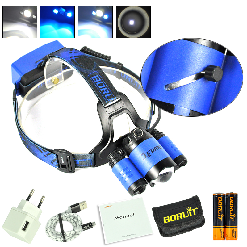 BORUiT B22 Zoomable XM-L2+2xXPE Blue LED Headlamp Fishing Headlight Torch with 18650 Battery and Charger cree xml l2 led zoomable headlamp red green blue fishing 4 mode head lamp light torch hunting headlight 18650 battey usb charger