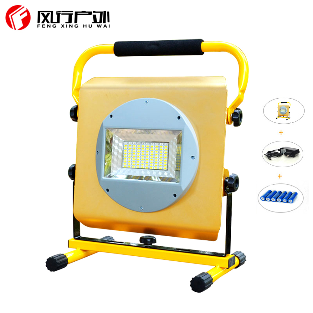 New LED flood light 100W floodlight Waterproof IP65 outdoor spotlight garden Lamp Square light Camp light+ 6*18650  battery led flood light waterproof ip65 200w 90 240v led floodlight spotlight fit for outdoor wall lamp garden projectors