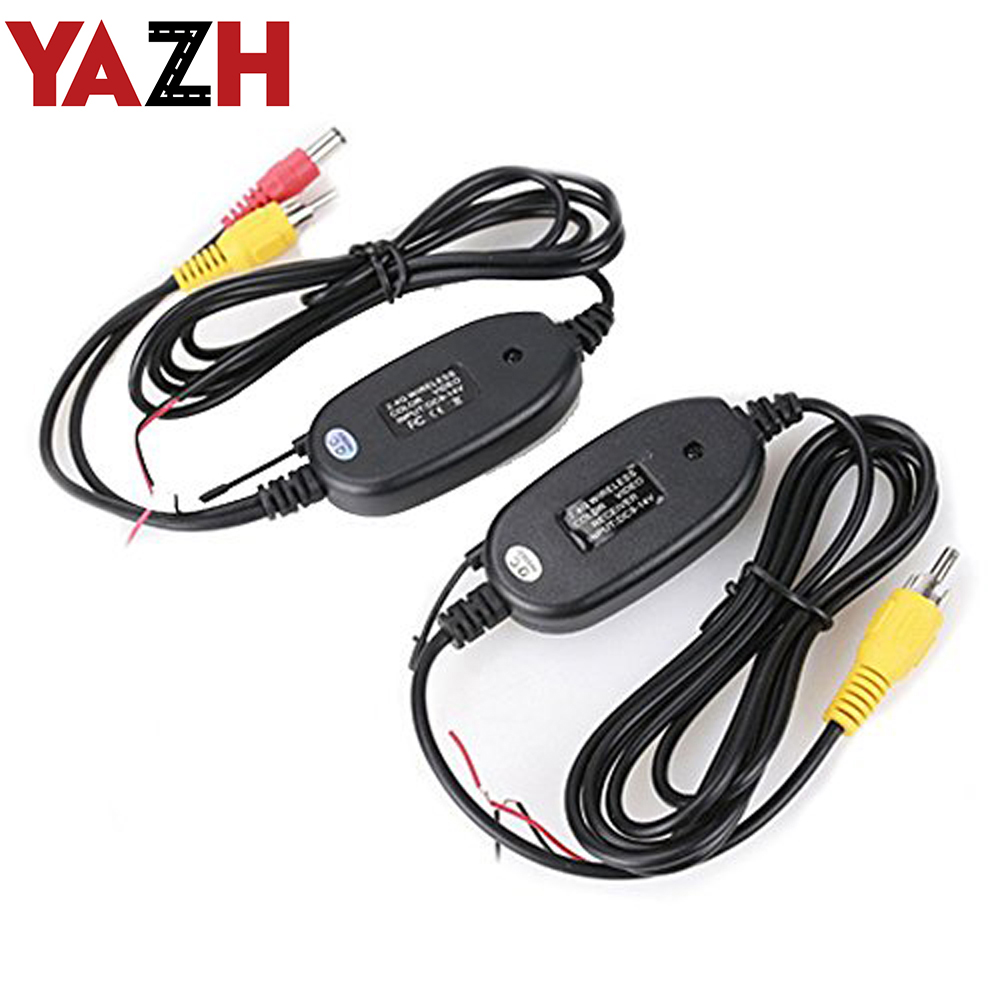 YAZH 2.4 Ghz Wireless Rear View Camera RCA Video Transmitter & Receiver Kit for Car Rearview Monitor FM Transmitter & Receiver image