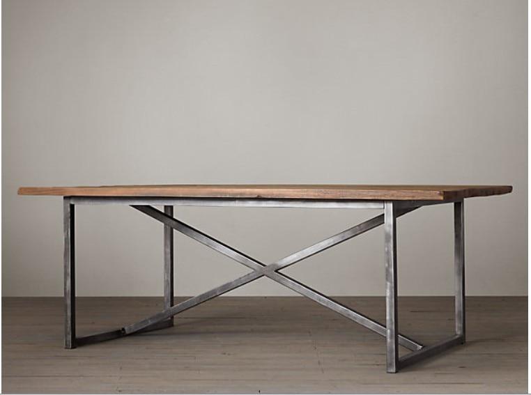 Vintage Wood Tables Wrought Iron Loft Office Desk Industrial