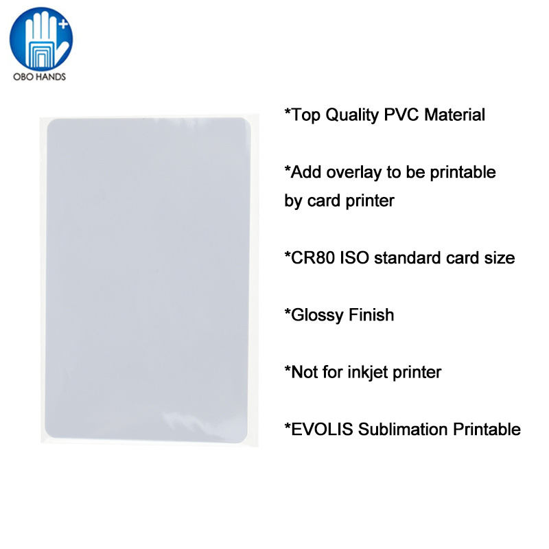 ISO Standard EVOLIS Sublimation Printable PVC Card Blank White CR80 Photo ID Card for Thermal Card