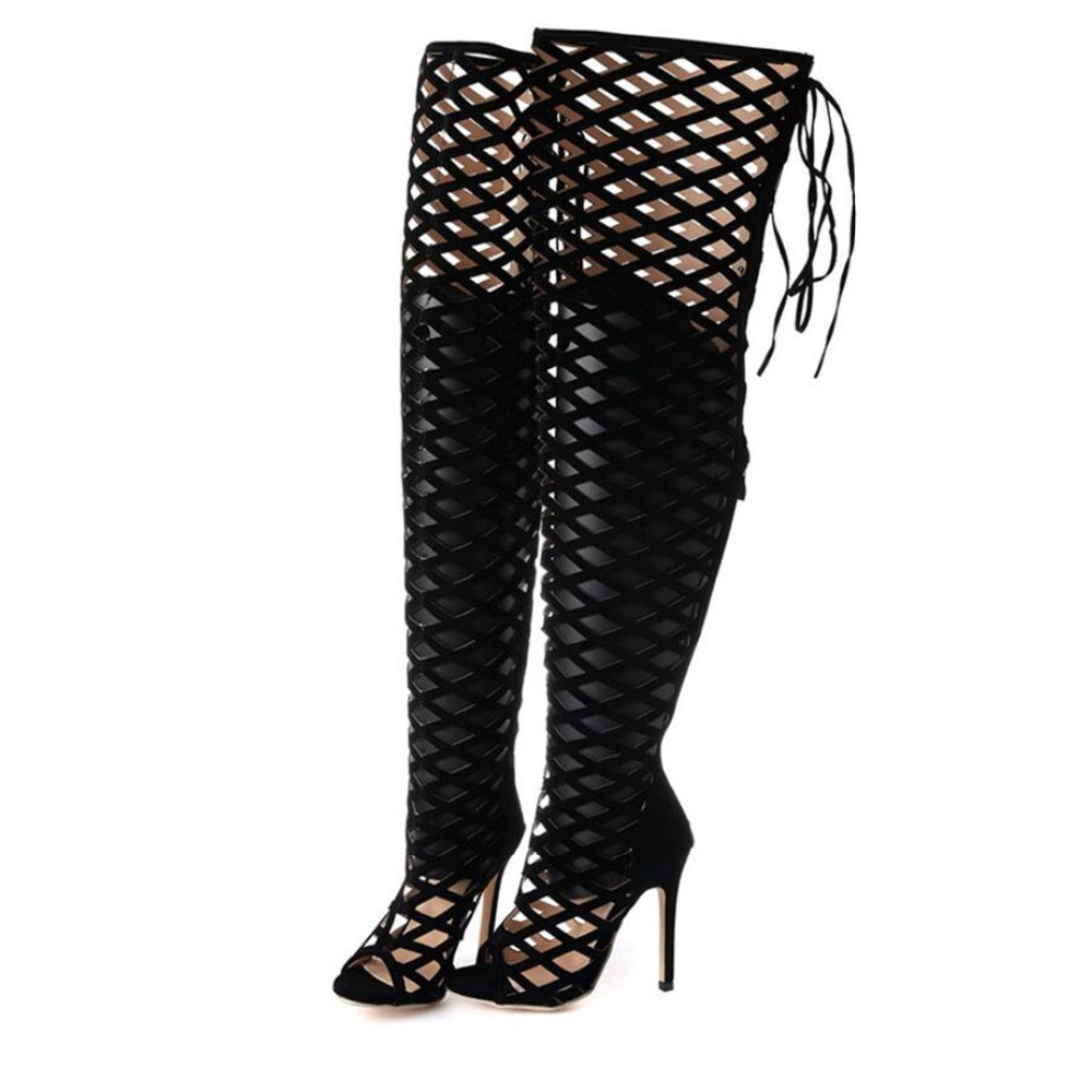 ФОТО Vogue Gladiator Black Sandals Knee High Cool Boots Women Cut-outs 11cm High Heel Sandals Sexy Woman Shoes Evening Party Tacones