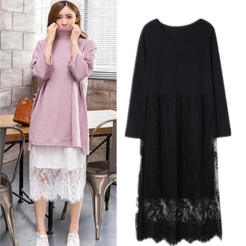 Plus Size S-5XL/6XL Korean Spring Summer Full Women Lace Dress New Modal Patchwork High Waist Long Sleeve Elegant Vintage Dress