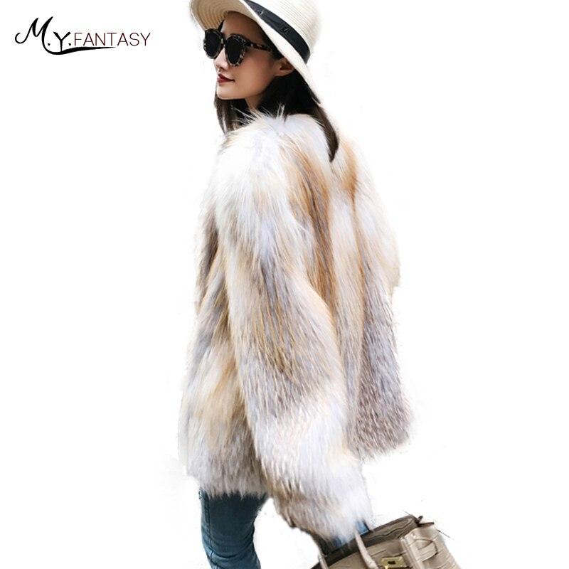 M Manteaux 2018 Fox Couleur Fansty Y Femmes De Nouvelle Renard Contraste V Champagne Mince Chauve Fourrure souris Manteau Marbre Manches Col Longues Importation 1qr1wRE