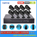 TEATE 8CH Full 1080N DVR with 1800TVL 720P Outdoor Security surveillance Camera Kit HD AHD 8 channel 1MP CCTV System