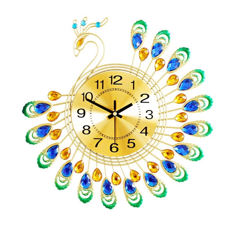Super Luxe Mooie Pauw Wandklok Metalen Kleine Stille Muur Horloge Unieke JE-04