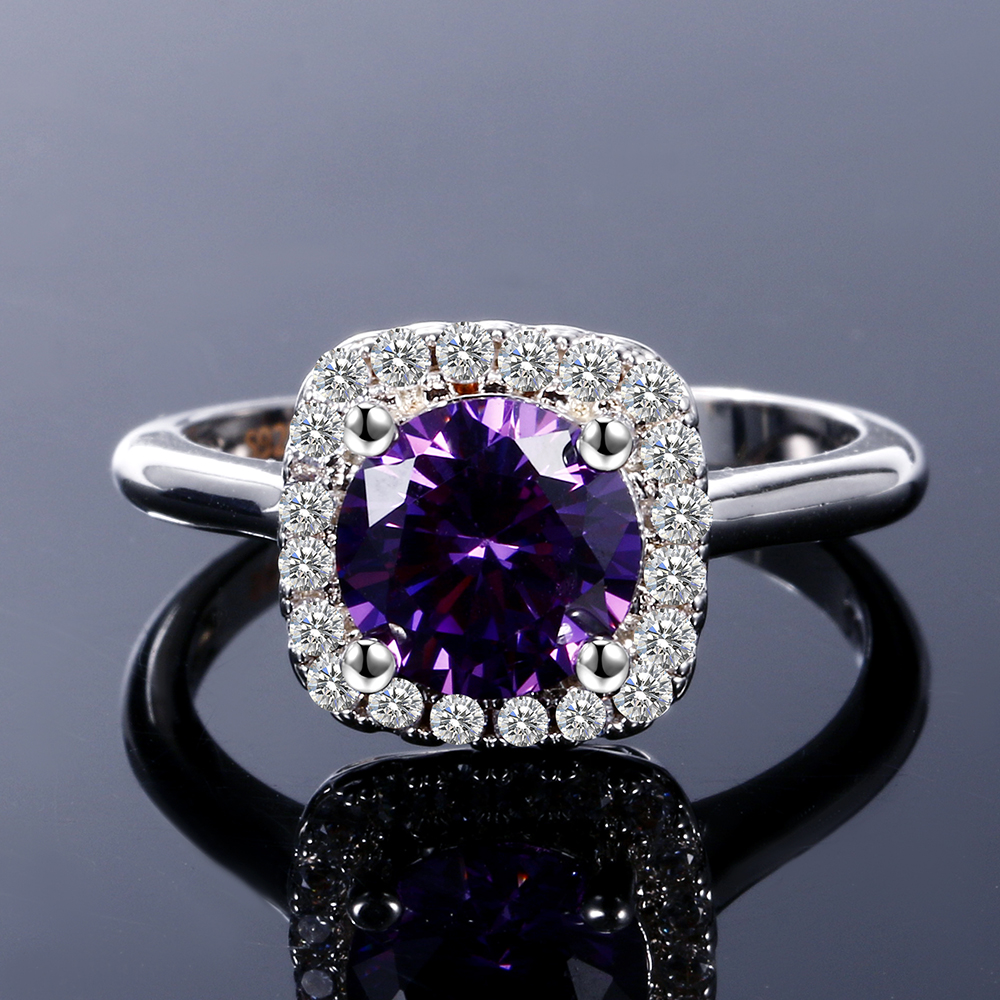 Nasiya New Trendy Hot Sale Wedding Rings Created Amethyst Ring For Women Fashion 925 Silver Jewelry With Gemstone Party Gift