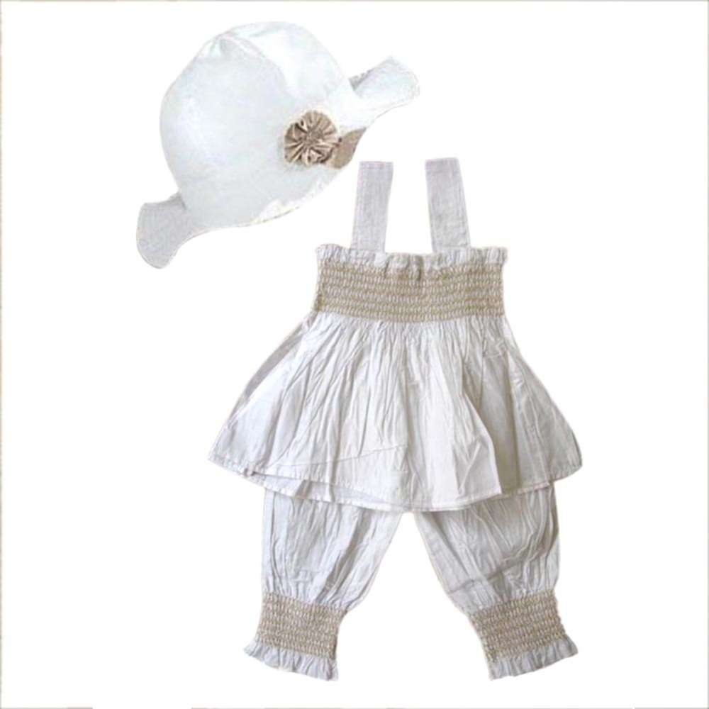 baby girls kids top pants hat set 3 pieces outfit costume ruffled clothes 0 3y in clothing sets. Black Bedroom Furniture Sets. Home Design Ideas