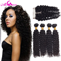Brazilian Virgin Hair With Closure 4 Bundles Brazilian Kinky Curly Virgin Hair with Closure Human Hair Kinky Curly With Closure