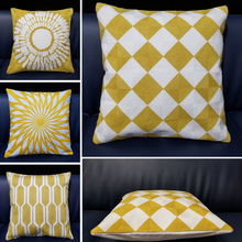 Yellow Embroidered Cushion Cover Geometric Cotton Square Pillow 45x45cm Home Car decorative pillow cases  for Couch Sofa