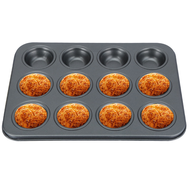 12/24 Cups DIY Baking Tools Non-stick Steel Cupcake Mold Egg Tart Baking Tray Dish Muffin Cake Mould Biscuit Pan Bakeware