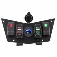 Carro de corrida RV 12-24 V Vermelho/Verde LED Painel Rocker Switch com Dual USB Carregador De Tomada