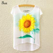 Hot Sale 2016 Summer Simple Tops Women's Casual Whiter Bat Short Sleeve Sunflowers Printing Harajuku Fashion Women T-Shirt