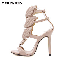 c9163bf13d9 Pink Metallic Winged Flame Gladiator Women Sandals 2018 High Heels Brand  Sandals Summer Shoes party Sandalias