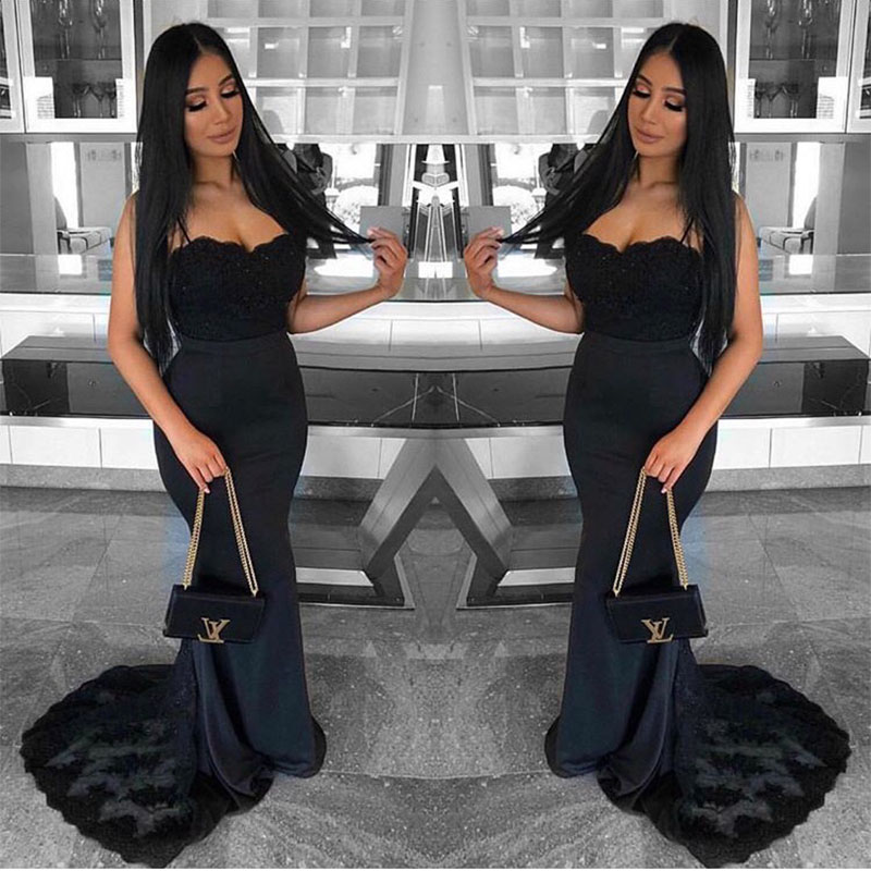 Robe De Soiree Sweetheart Mermaid Bridesmaid Dresses Black Satin Appliques Formal Wedding Party Dresses Sweep Train