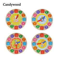 Wooden Digital Geometry Clock Wooden Blocks Toys for Children Educational toy brinquedos menino wooden toys for
