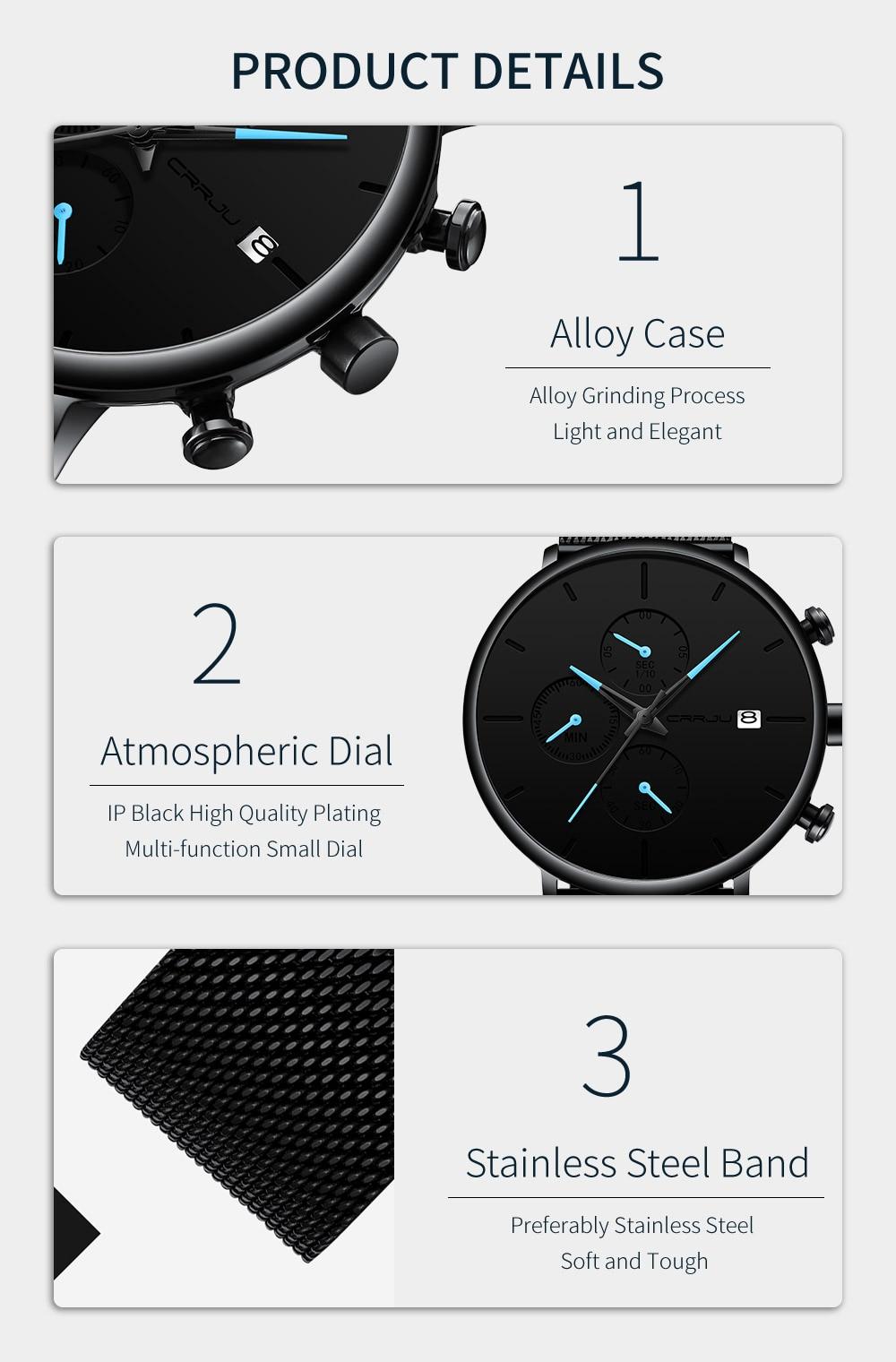 HTB1f2siVpzqK1RjSZFvq6AB7VXae Mens Women StopWatches CRRJU Unique Design Luxury Sport Wrist Watch Stainless Steel Mesh Strap Men's Fashion Casual Date Watches