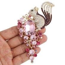 Bella Fashion New Spring 3 Colors Squirrel Rhinestone Brooch Pins Austrian Crystal Flower Animal Brooches For